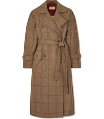 belted checked wool-tweed trench coat