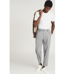 reiss granite - pleat front tapered pants in, mens, size 38