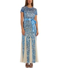 r & m richards embellished godet-hem gown