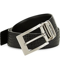 croco-embossed leather belt
