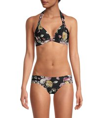 rachel roy women's cherry blossom print bikini top - black - size s