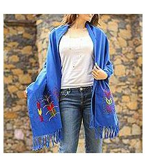 cotton shawl, 'maize in blue' (mexico)