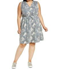 plus size women's bobeau drawstring jersey dress, size 1x - grey