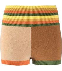 ami amalia colour-block merino wool shorts - neutrals