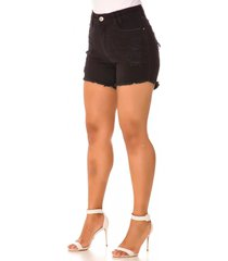 shorts jeans express hot pants franjado preto