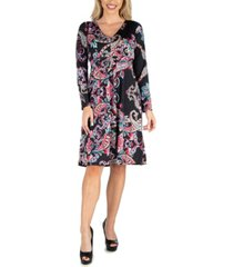 24seven comfort apparel women's v-neck long sleeve professional dress