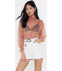 womens sheer today high neck blouse - champagne