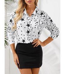 blusa de manga larga con cuello clásico y estampado de estrellas yoins