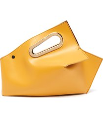 athaarah' cut out top handle leather clutch