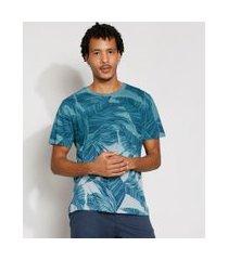camiseta masculina estampada manga curta folhagem degradê gola careca azul