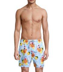 vintage summer men's poinji pineapple-print swim trunks - light blue - size s