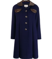 gucci animal print detail coat - blue