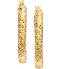 giani bernini textured oval hoop earrings in 18k gold-plated sterling silver, created for macy's