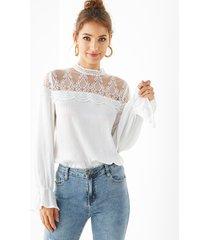 yoins blusa de manga larga con encaje blanco