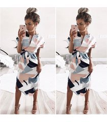 vestido de playa manga corta con cuello en v femenino-gris