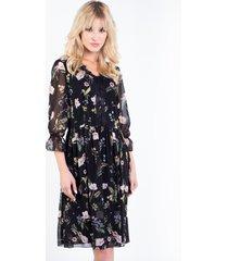 czarna sukienka w kwiaty lorana