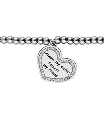 bracciale 'always my sister, forever my friend' in acciaio e strass per donna