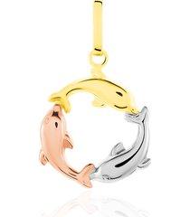 ciondolo in oro tricolore delfini per donna