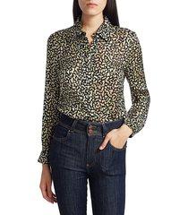 alice + olivia women's willa print blouse - neon yellow multi - size xs