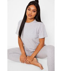 basic t-shirt en zachte jersey leggings pyjama set, grey marl