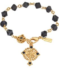 14k gold-dipped blue bead windows to heaven rosary crucifix bracelet