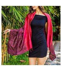 100% silk shawl, 'red peony' (thailand)