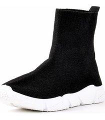 zapatilla calcetin doble grueso negro mailea
