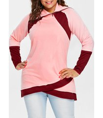 long sleeve color lump plus size sweatshirt