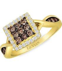 le vian women's 14k honey gold®, chocolate diamond® & vanilla diamond® ring - size 7