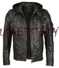 handmade new men stylish fabric hooded biker leather jacket, men leather jacket