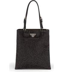 prada crystal embellished crossbody bag - black