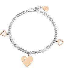 bracciale lady chic acciaio bicolore cuore e cristalli per donna