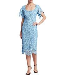floral lace flutter-sleeve sheath dress