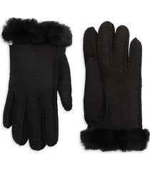ugg women's shearling-trim leather gloves - chestnut - size s