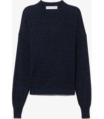 proenza schouler white label marl silk sweater cut out top black/midnight l