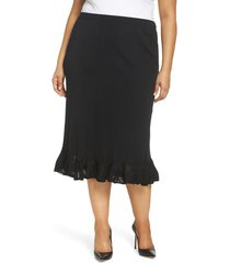 plus size women's ming wang ruffle hem skirt, size 0x - black