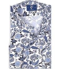r2 shirt wit met blauwe print mouwlengte 7