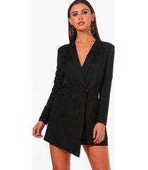 petite asymmetrische blazer jurk, zwart