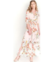 vestido largo estampado, manga 3/4 con elastico, cuello camisero con corte en cintura color-multicolor-talla-xxs