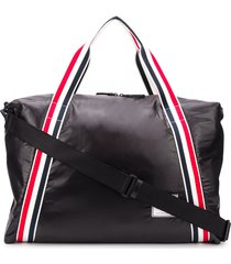 thom browne tricolour webbing ripstop weekend bag - black
