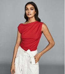 reiss flavia - jersey high neck top in red, womens, size xl