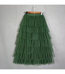 dark green layered tulle skirt women dark-green high waist mesh full tulle skirt