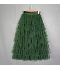 dark green layered tulle skirt women dark-green high waist mesh full tulle skirt