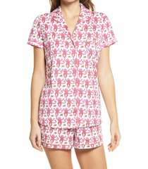 women's roller rabbit monkey polo short pajamas, size large - pink
