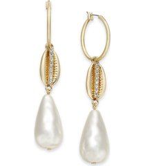 inc gold-tone hoop, pave shell & imitation pearl drop earrings, created for macy's
