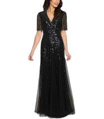 adrianna papell tuxedo sequin gown