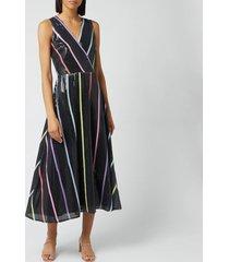 olivia rubin women's thea dress - black thin stripe - uk 10