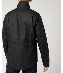 barbour international men's tennant wax jacket - black - l