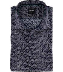 korte mouwen shirt navy geprint olymp modern fit