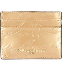 karl lagerfeld paris women's embossed pvc card case - champagne